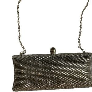 Silver bling rhinestone purse with silver chain